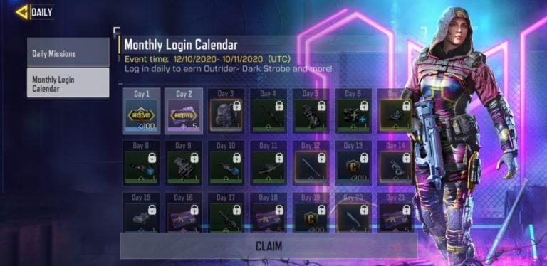 Outrider (Dark Strobe) - Monthly Login Calendar