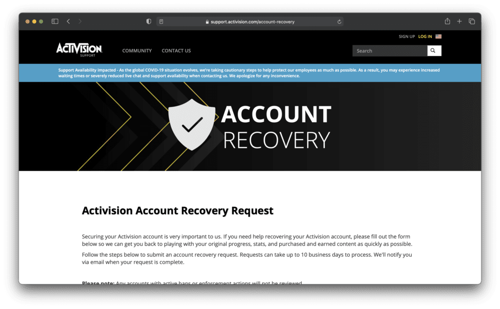 Activision Account Recovery Request
