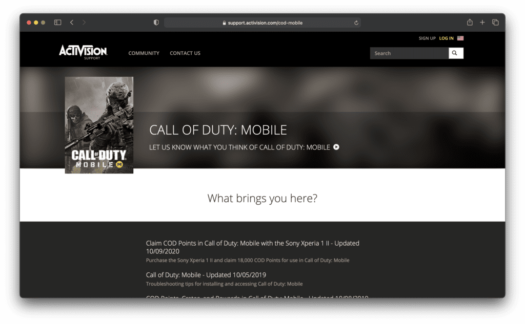 Activision Support for COD Mobile