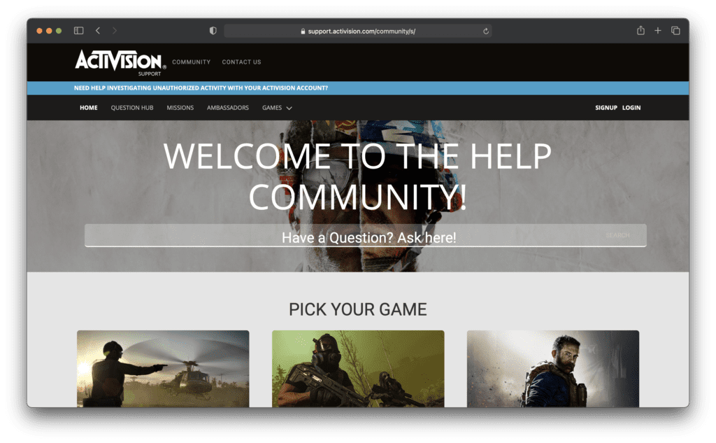 Activision Support Community