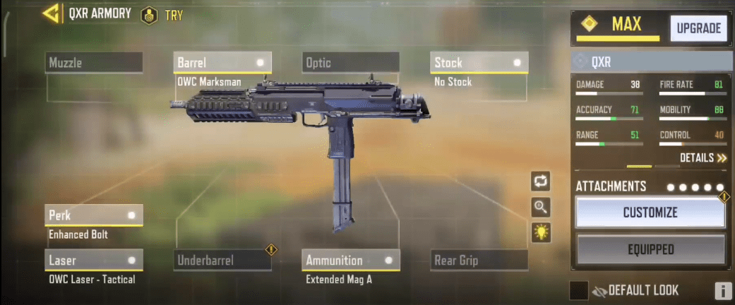 QXR Gunsmith Loadout, Attachments in Call of Duty: Mobile