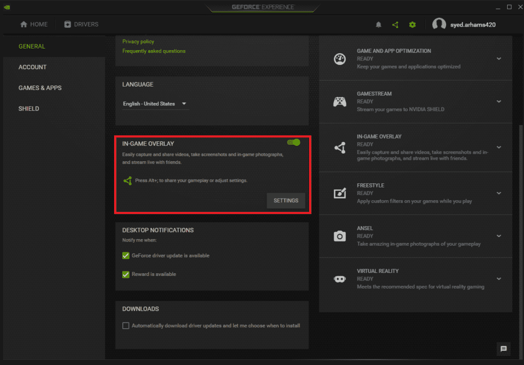 Nvidia in-game overlay setting