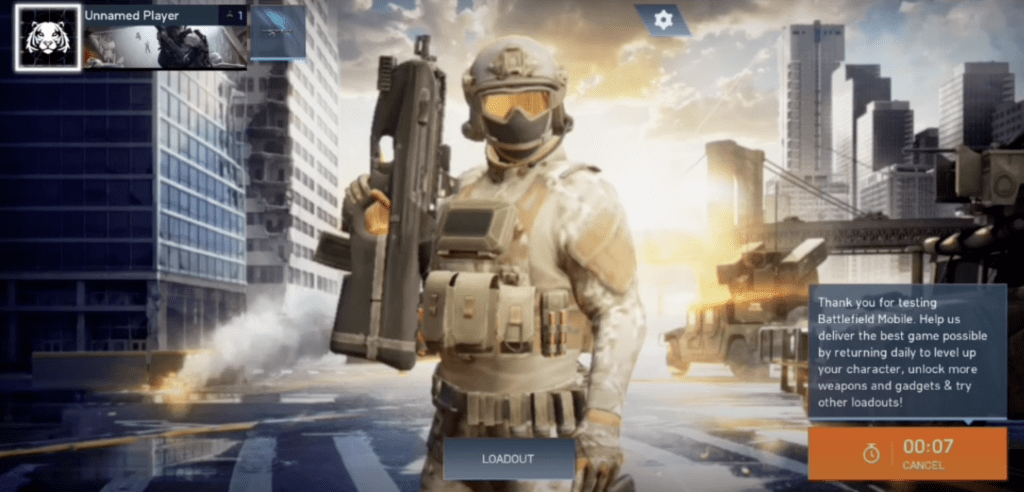 battlefield main menu