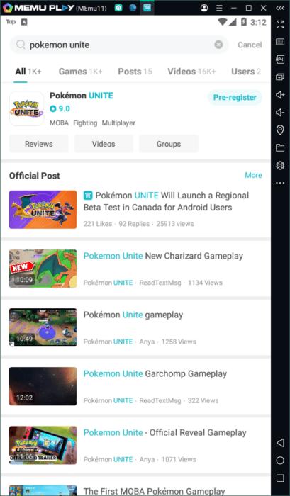 Pokemon unite memu emulator